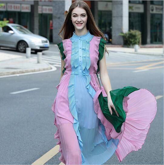 Runway 2017 European Brand Sleeveless Pleated Women Dress Elegant Bohemian Patchwork Midi Dresses Chiffon