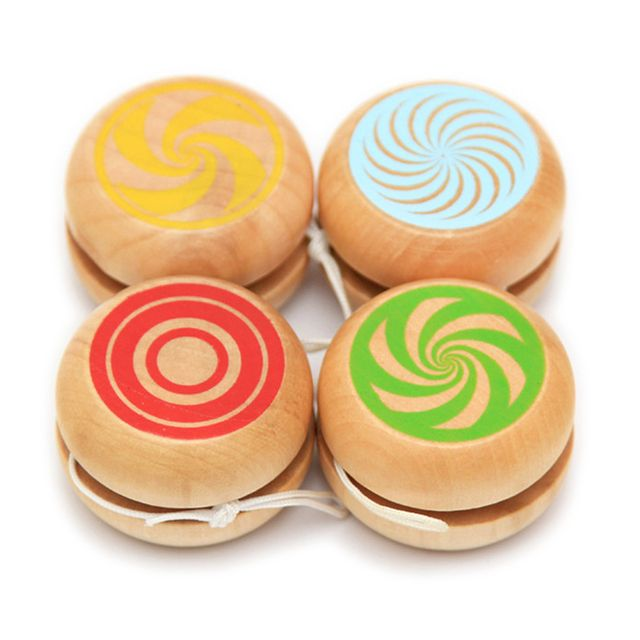1 Pc Newest Baby Wooden Toys Wooden Yoyo Toys Kids Intelligence Educational Hand-Eye Coordination Development Yoyo Toy Gift