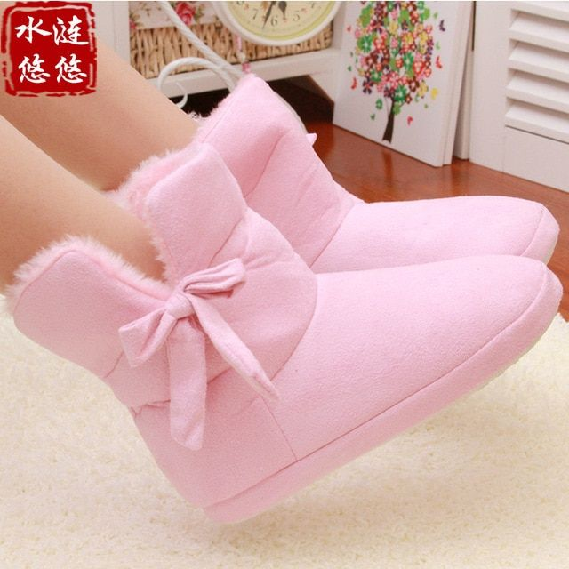 New Cotton Slippers Home Warm Snow Winter shoes Thick Barreled Home Floor Slippers Women Bow Shoes Pink And Brown For Lovers