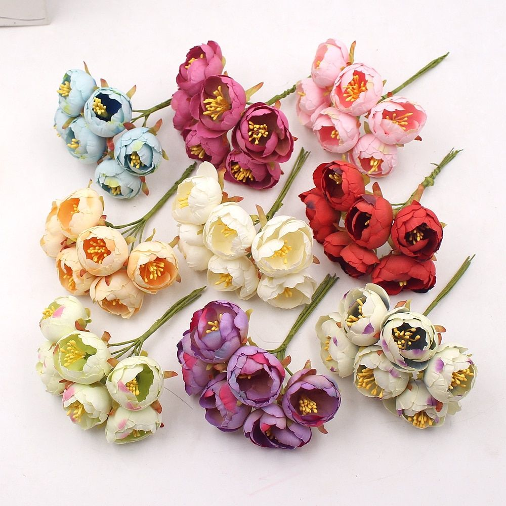 6PCs/Bouquet Tea Rose Bud Artificial Flowers Wedding Christmas Decorations For Home DIY Craft Wreath Scrapbooking New Year 2020
