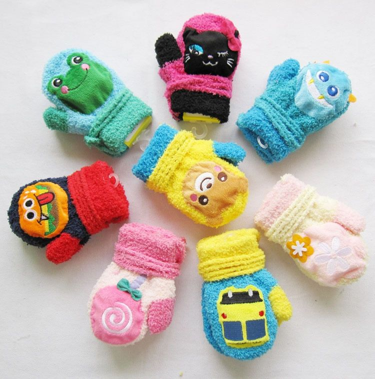 Amazing Cute Cartoon Thicken Warm Fleece Infant Baby Boys Girls Winter Warm Gloves Newborn Mittens for 0-12 Month