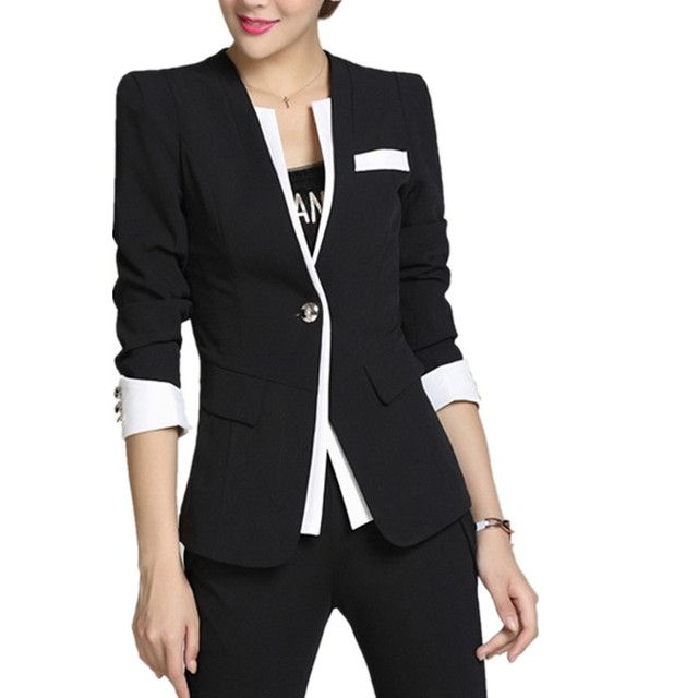 2017 Jaqueta Feminina Plus Size S-4xl Lady Blazer Sleeve Notched Women's Blaser Female Elegant Jacket Office Wear Autumn Women