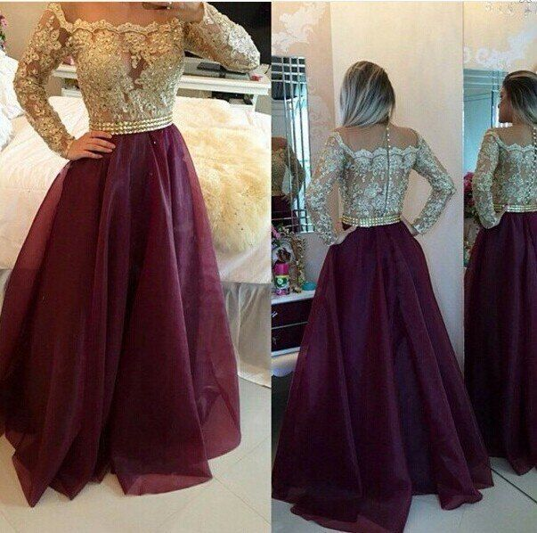 2016 Fashion Long Sleeves Prom Dresses Gold Appliques Wine Red Evening Gowns Buttons Floor Length vestidos de festa Custom Made