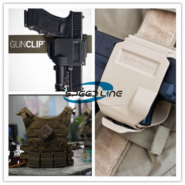 2 PCS of Military Tactical hunting equipment quickly draw clip Glock pistol holster for GLOCK 17 18 22  23 26 28 35 black tan