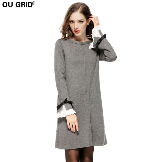 Autumn Winter Women Knitted Sweater Dress Plus Size Thick Warm High Quality Long Butterfly Sleeve A-line Casual Dresses S-4XL