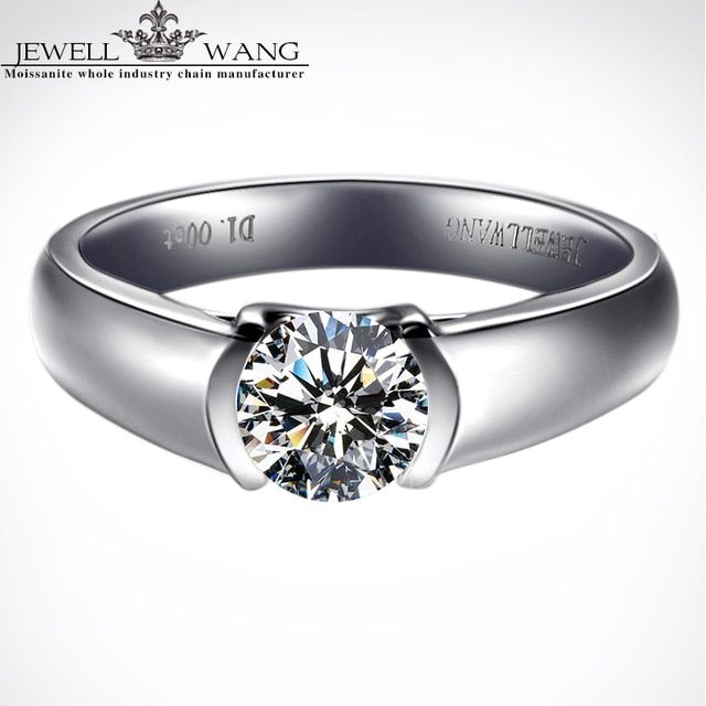 JewellWang Moissanite Wedding Rings for Men Angel's Kiss 0.3CT Certified 18K White Gold Engagement Ring Fine Jewelry Gift Real