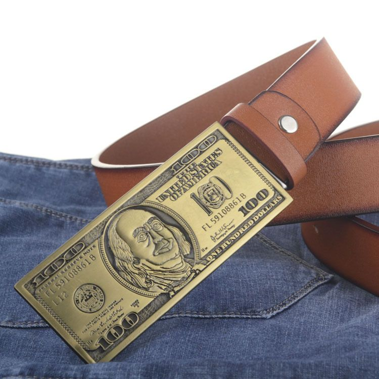 US dollar buckle PU leather belt big buckle man belts new style fashion great leather belts 5247