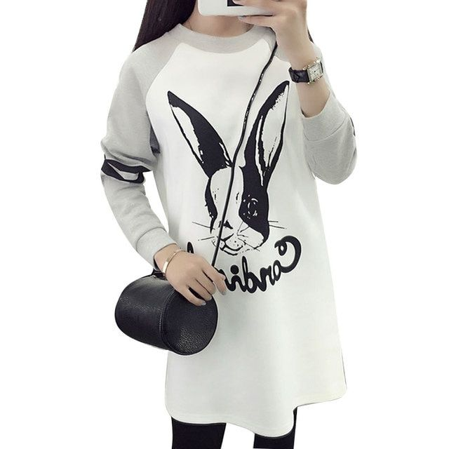 New 2017 spring Fashion Hoodies Women Cute Rabbit Printed Cartoon Sweatshirts Color Contrast Long Dress Tops Cotton Sweatshirts
