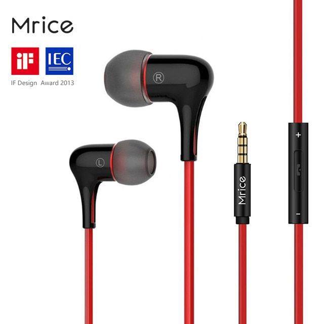Original Brand Mrice E300 E300A In-Ear Earphone with Mic Capsule High Fidelity Stereo Earbuds Patent Designed for Xiaomi Samsung