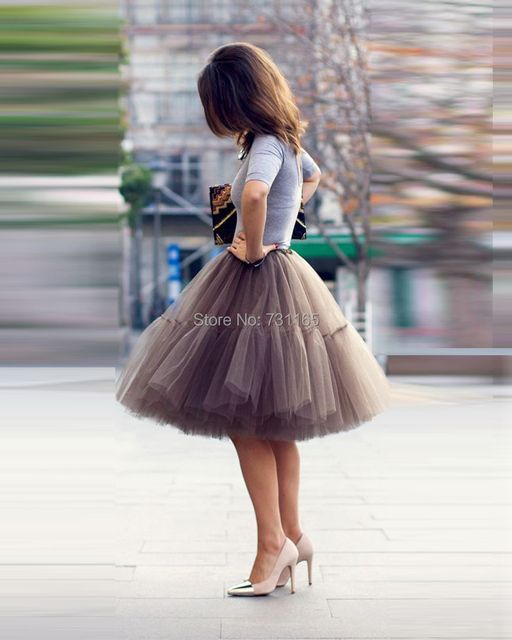 Free Shipping 6 Layer 2016 Tutu Tulle Skirts Midi skirt Women Fashion Party Design saias femininas formal faldas cortas