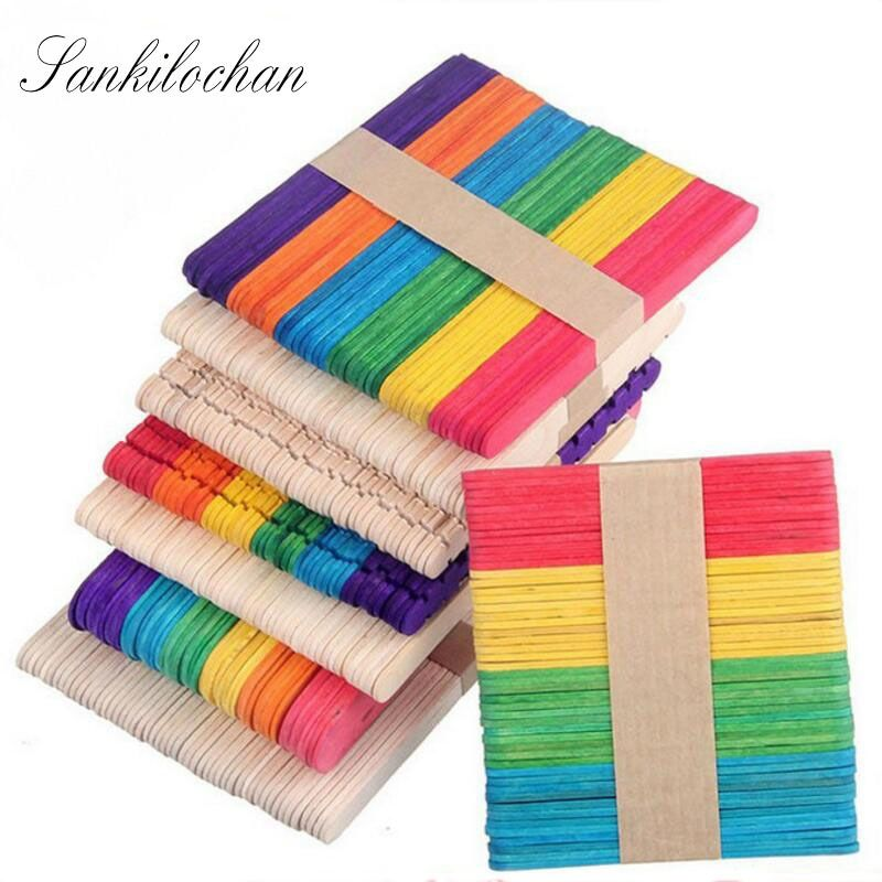 New 50Pcs Wooden Popsicle Stick Kids Hand Crafts Art Ice Cream Lolly Cake DIY Making Funny Children gift AU222