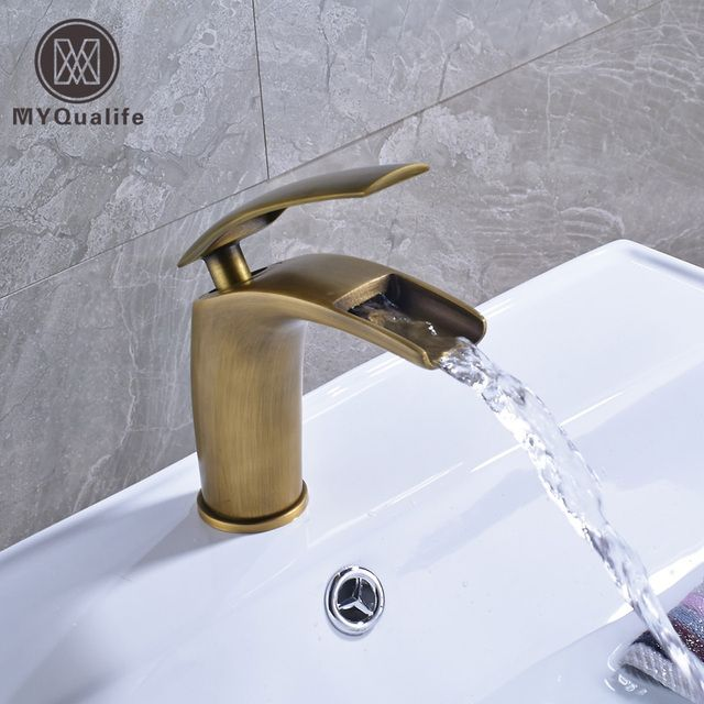 Creative Waterfall Single Handle Bathroom Vessel Sink Faucet Deck Mounted One Hole Brass Antique Basin Mixer Taps