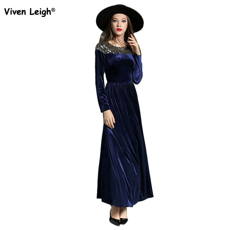 Vintage Elegant Long Sleeve Sequin Patchwork Velvet Maxi Dress Blue/Black Women's Fashion Fit and Flare Evening Party Long Dress