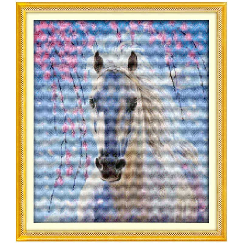 White horse (2) Pattern Counted Cross Stitch 11 14CT Cross-stitch animals Cotton Cross Stitch Kits for Embroidery Needlework