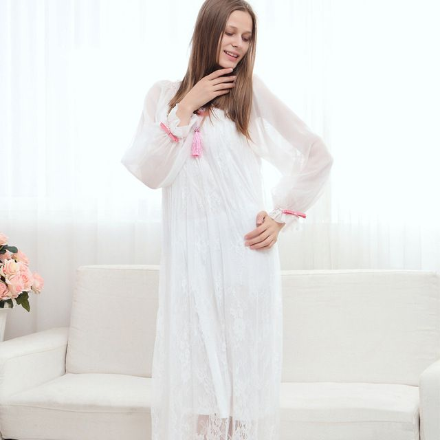Free Shipping Women's Long Nightgowns Princess Nightdress Palace Retro Long-Sleeved Princess Nightdress White Lace Sleepwear