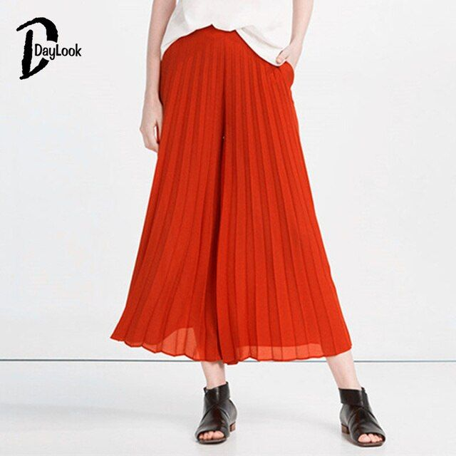 DayLook 2016 Summer Fashion Women Trousers Wide Leg Orange High Waist Pleat Detail Cropped Palazzo Pants Mujer Pantalones