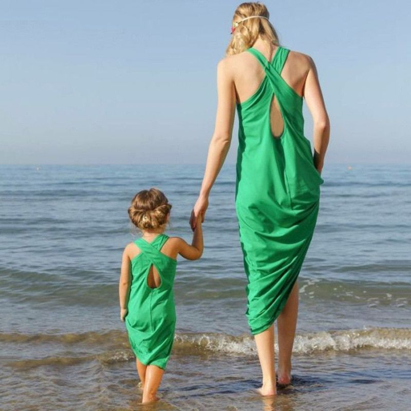 Summer beach mother daughter dresses green vestidos mommy and me clothes women bandage dress long maxi dress family look