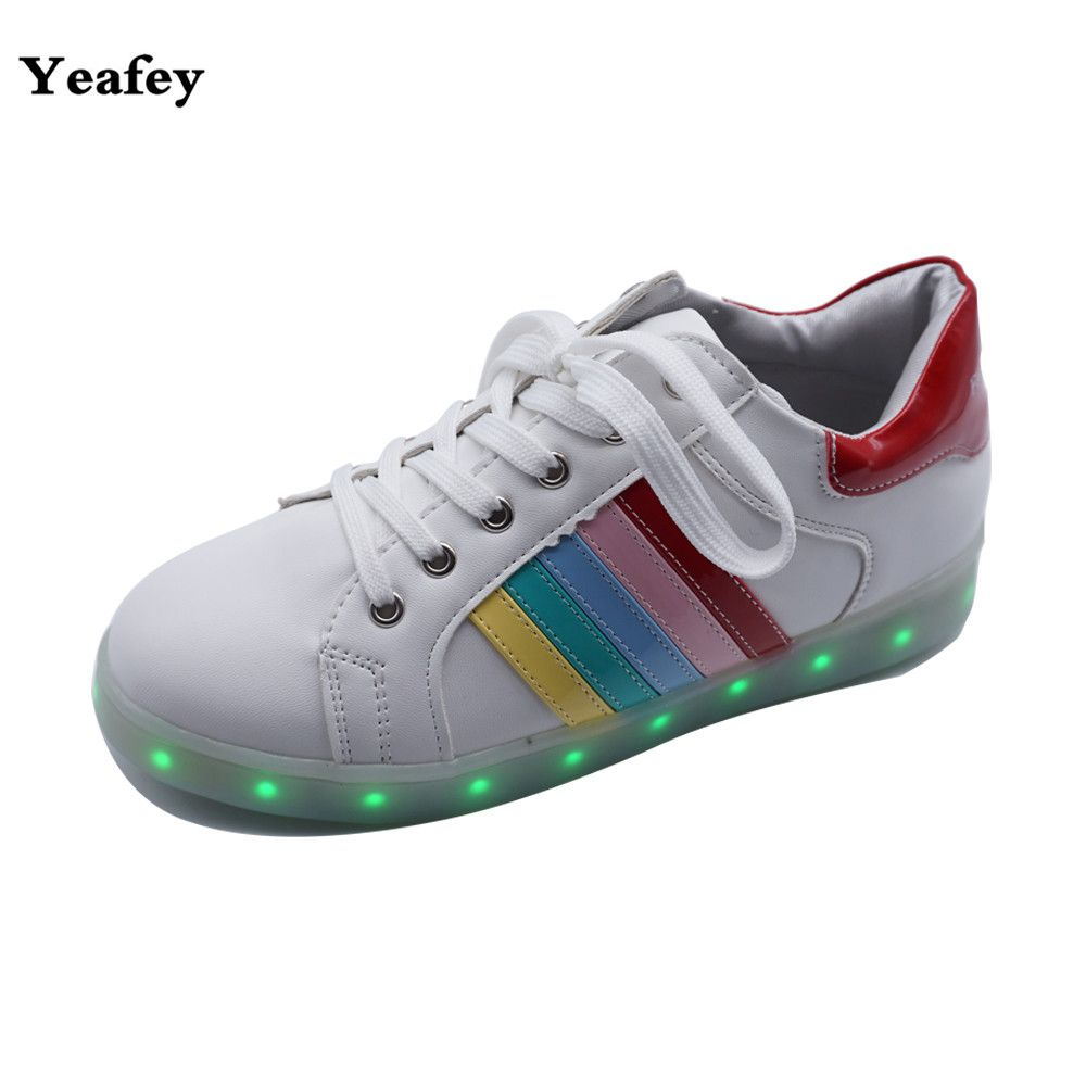 Yeafey Chaussure Femme Women Casual Filling Shoes White Luminous Sneakers Fashion Glowing Illuminated Sneakers Eur Size 35-40