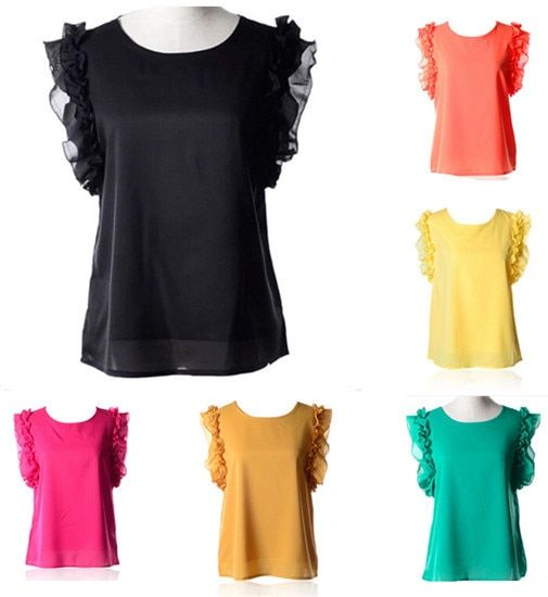 New 2016 Hot 7 Colors Lotus Leaf Bow Lacing Chiffon Blouse Sleeveless Tops Women O-neck S-XL