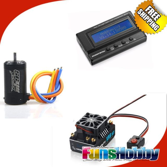 Tenshock SC411 Brushless Sensor 4 Pole Motor Hobbywing XR8 SCT 140A Brushless ESC Speed Control Controller+3IN1 LCD Program Card