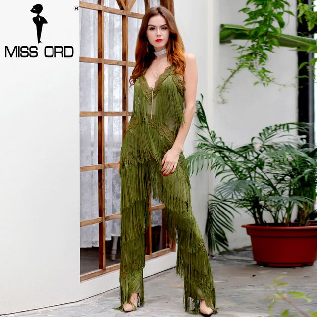 MISSORD 2017 Sexy sleeveless V-NECK  halter lace tassel jumpsuits FT4661-2