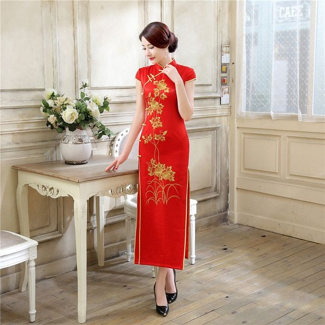 Traditional Embroidery Flowers Chinese Women's Dress Vintage Button Satin Long Cheongsam Qipao Sexy Club Wear S M L XL XXL