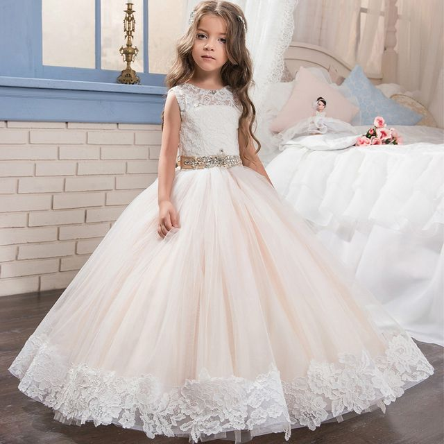 Lace Long Kids Puffy Prom Pageant Dresses For Girls Glitz Size 8 12 Champagne Ball Gown Children Graduation Dresses 2017 Cheap