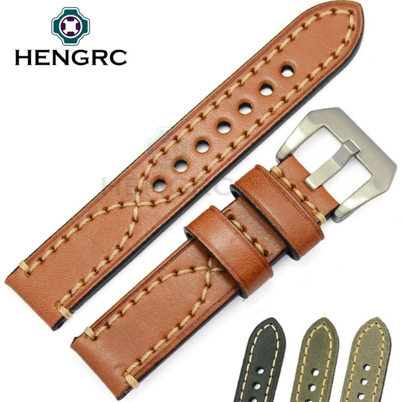 24 22 20mm Watchbands Men Watch Band Genuine Cowhide Leather Thick Women Strap Belt Stainless Steel Buckle Clasp For Panerai