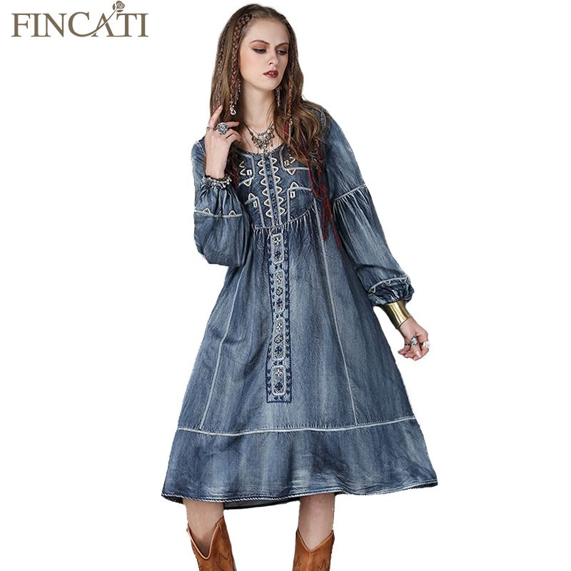 2017 Spring Loose Women Dress Casual Vintage Denim Dresses O-Neck Long Lantern Sleeve Embroidery Casual Vestido Jeans Robe