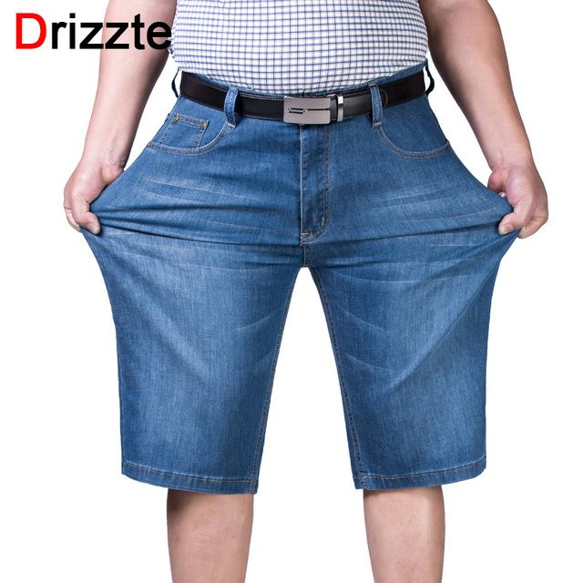 Drizzte Mens Plus Size 44 46 48 50 52 Jeans Shorts Stretch Light Blue Thin Denim Short Jean  Big and Tall Trousers Pants