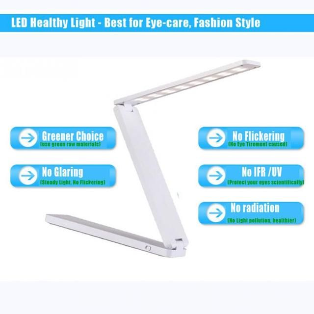 Eye Protection Three Folding Portable LED Desk Lamp Dimmable Mini USB Interface Rechargeable Table Lamp