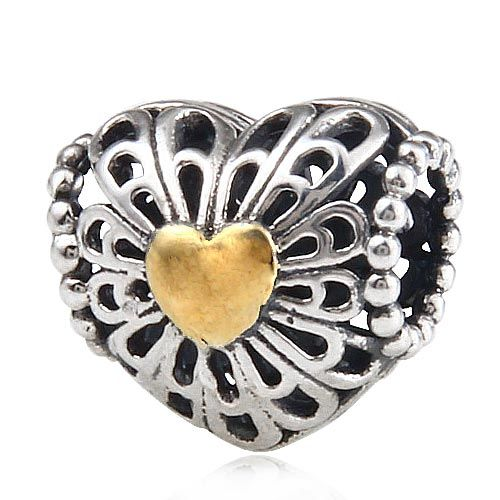 2016 newest high quality charm silver bead fits pandora bead bracelet 925 sterling silver hearts charm gold charms plated K3687