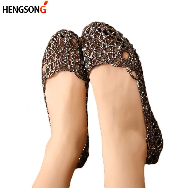 HENGSONG Women's Sandals 2019 Fashion Lady Girl Sandals Summer Women Casual Jelly Shoes Sandals Hollow Out Mesh Flats  23-25cm