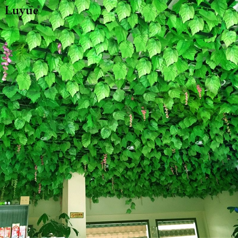 luyue 48 Pcs/Lot Artificial Grape Ivy Leaves Wall Hanging Green plants Vine Foliage Home Garden Garland decorative flowers 240cm