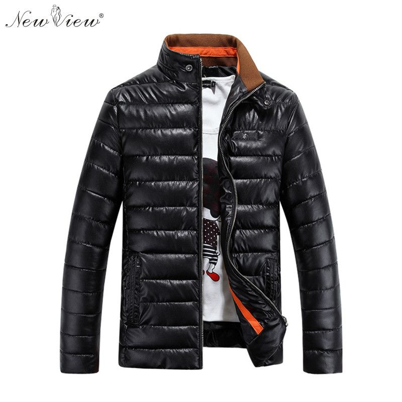 Coat Winter Coat Men Slim Style PU Leather Bright Black Surface Down Cotton Padded Parka Fashion Casual Overcoat Men