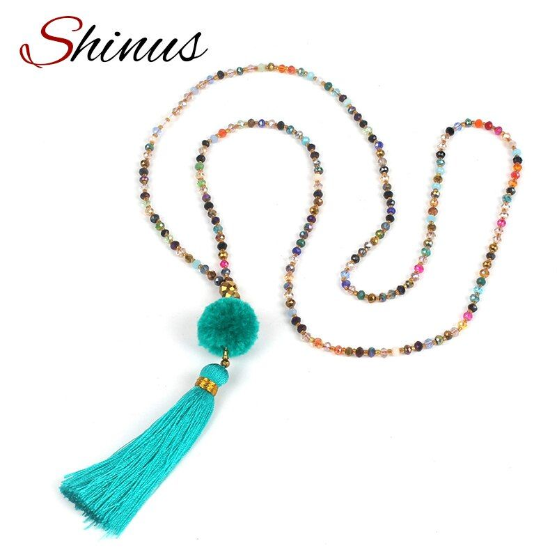 Shinus Boho Jewelry Collier Pompon Necklace Statement Necklaces Women Colorful Crystal Beaded Tassel Maxi Strand Long Pendant