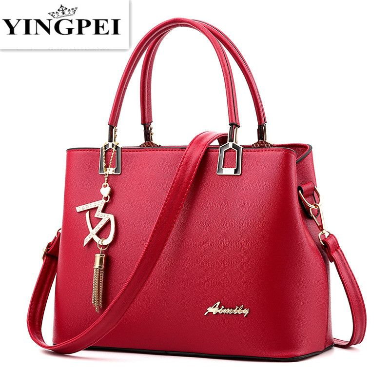 YINGPEI Women Bags Fashion Vintage Designer Messenger PU Leather Handbag High Quality Casual Shoulder Top-Handle Totes