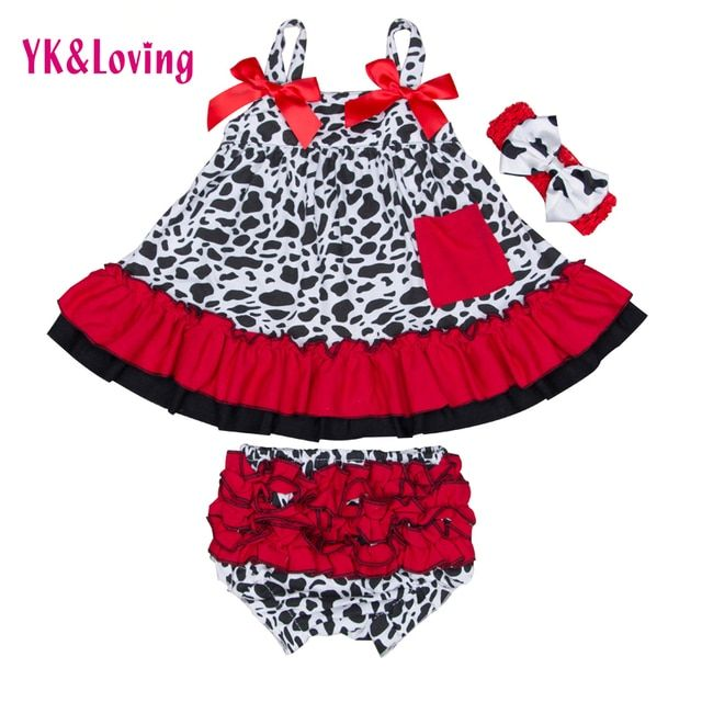 2017 Baby Girls Cotton Ruffled Swing Top Clothing Sets Bloomer Sets Swing Dress Back Outfits Infant Girls Clothes
