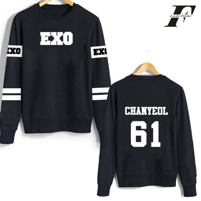 LUCKYFRIDAYF kpop exo hoodies sweatshirt kar sehun xiumin baekhyun terra sticker women/men harajuku winter outwear xxxxl clothes