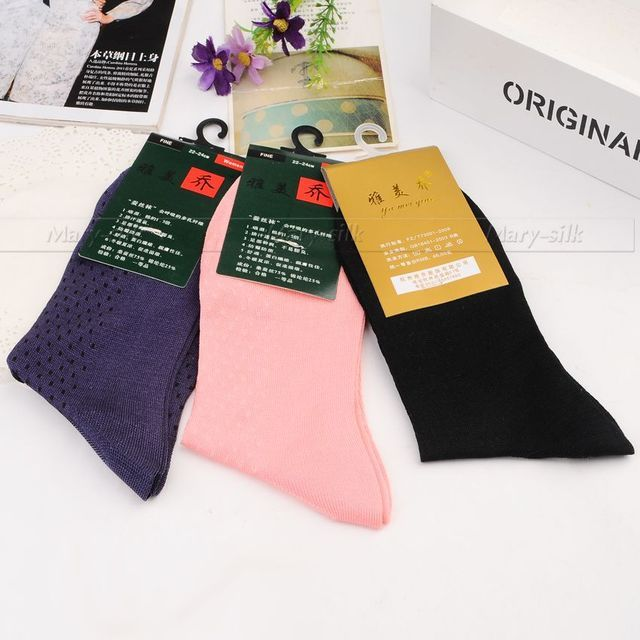 3 Pairs womens 100% Silk Socks 100% mid Calf Free p&p Black Brown Beige Gray Navy__ For 4 Seasons