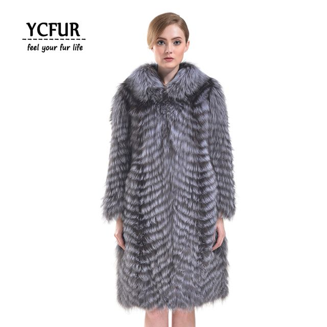 YCFUR 2016 Winter Fur Coats Women Luxury Natural Silver Fox Fur Jackets With Fox Fur Collar Stripes Fox Fur Jacket X-Long Style