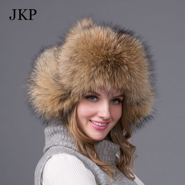 Hot sale warm Winter women's fox raccoon fur hat Bomber Hats cap snow cap fur millinery Thick fur Bomber Hats  protector cap