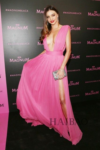 Sexy Deep V-neck Pink Prom Dress Miranda Kerr 2017 68th Cannes Film Gala Red Carpet Inspired Celebrity Dresses