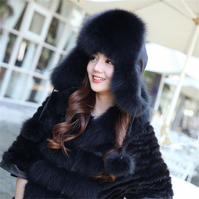 Genuine Fox Fur Hat Women Fox Fur Skullies Beanies Winter Warm Hats Natural Fox Cap Bomber Hats