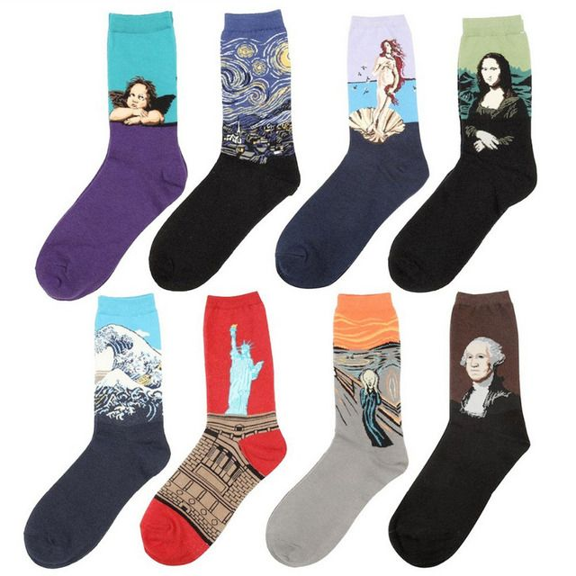 8 Pairs/Lot Women Men Unisex Fashion Novelty Famous Painting Fine Art Socks the Scream Starry Night Short Sock Vintage New Style