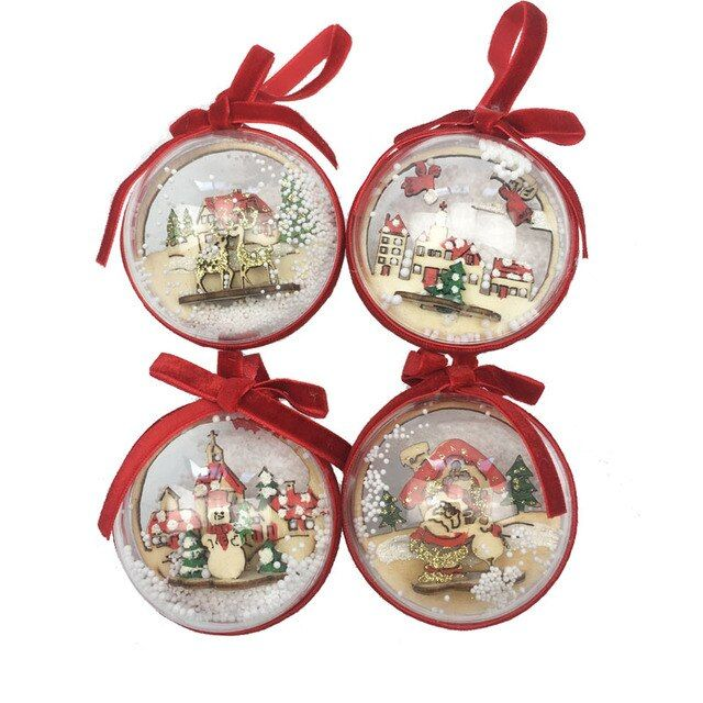 2 Pieces Mix 6CM Clear Plastic Christmas Balls Wedding Birthday Party Decorations Festive Gift Christmas tree Ornament