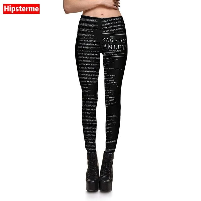 HIPSTERME New Fashion Women Sexy Black leggings New Style English alphabet Printed gothic leggins for Woman