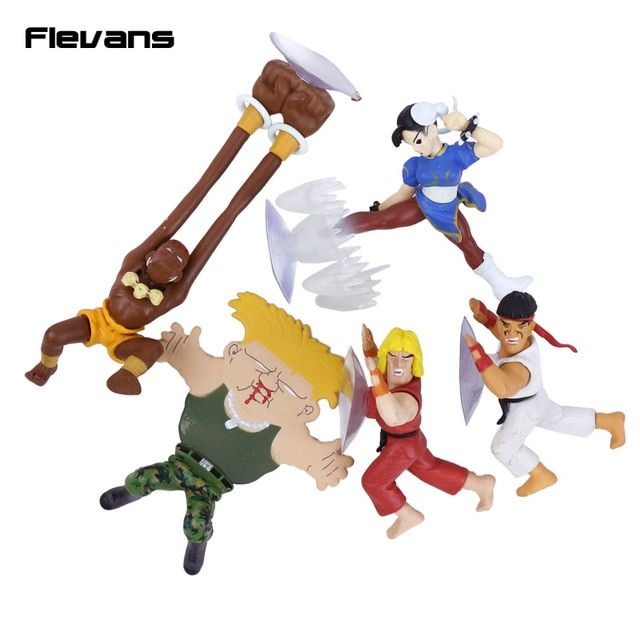 Street Fighter Ryu Guile Ken Chun Li Dhaisim Funny Phone Holder Mini PVC Figures Collectible Model Toys 5pcs/set 10cm
