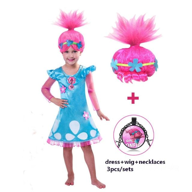 Girls Dresses Trolls Poppy Cosplay Costumes Dress For Girls Bobo Choses Streetwear Halloween Clothes Kids Fancy Dress Girl Wig