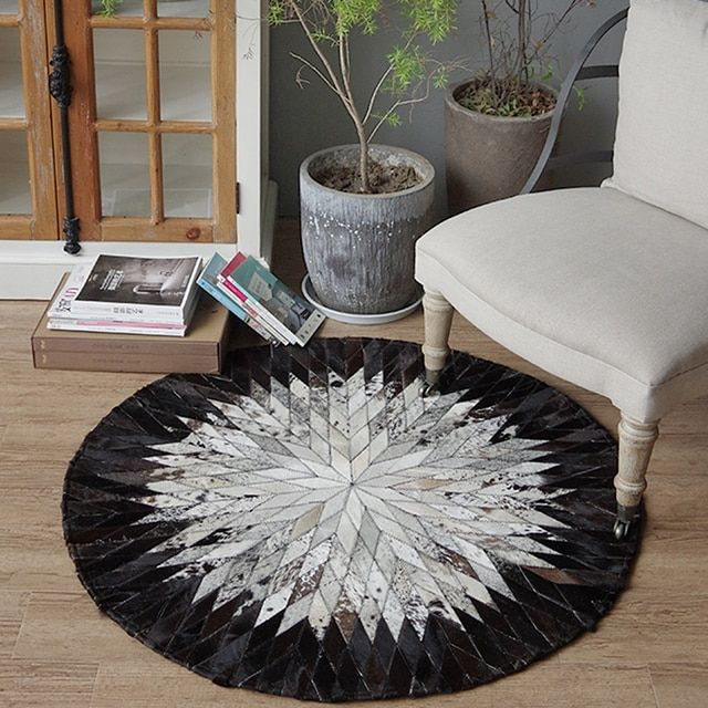 Handmade leather stitching round carpet study black and white computer chair living room coffee table mats bedroom bedside Rug